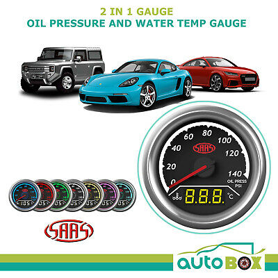 AU116.85 • Buy SAAS 2 In 1 Digital Analogue Dual Face Trax Gauge Oil Pressure And Water Temp
