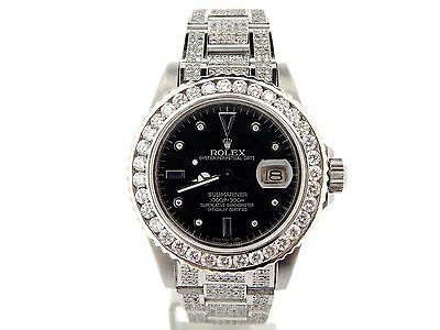 $ CDN20044.47 • Buy Rolex Submariner Mens Stainless Steel Watch Black Serti Diamond Dial Bezel Band