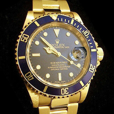 $ CDN30568.47 • Buy Rolex Submariner Date SOLID 18K Yellow Gold Watch Oyster Band Blue Sub 16618