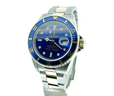 $ CDN12032.57 • Buy Mens Rolex Submariner Date 18k Yellow Gold Stainless Steel Watch Blue Sub 16613