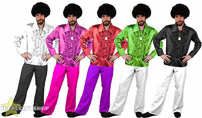Mens 1970's Disco Ruffle Shirts Flares Adults Fancy Dress Costume 70s Frilly Top • 15.99£