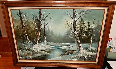 $ CDN840.64 • Buy Cantrell Large Original Oil On Canvas Winter Snow River Landscape Painting
