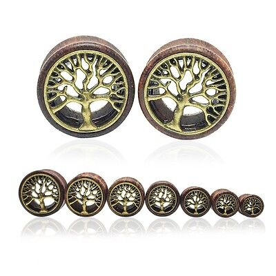 £2.61 • Buy Pair Wooden Ear Tunnels Set Plugs Kit Guages Earlets Stretchers 8mm - 20mm NEW