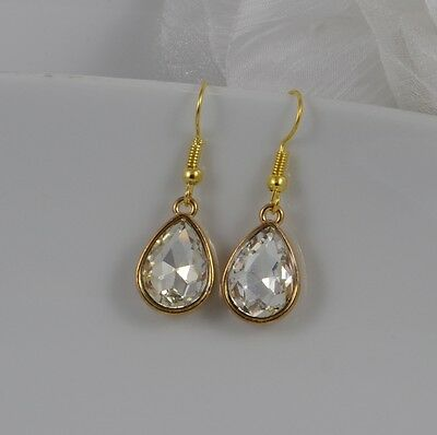 £2.99 • Buy Small Gold Tone Tear Drop Earrings With Clear Diamante Faceted Crystal