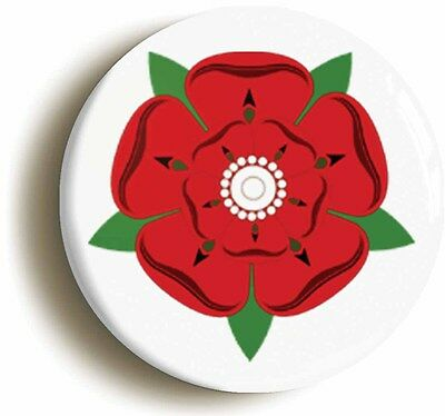 LANCASHIRE RED ROSE BADGE BUTTON PIN (Size Is 1inch/25mm Diameter) • 2.49£