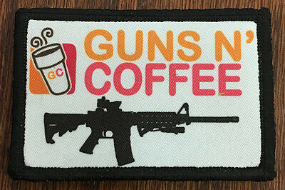 $7.99 • Buy Tactical Guns And Coffee Morale Patch Funny Military Army Hook Flag Dunkin