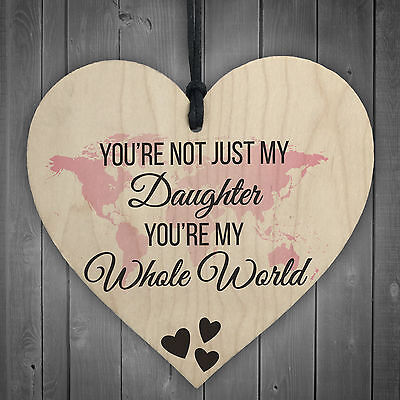 £3.99 • Buy Daughter You're My Whole World Wooden Hanging Heart Plaque Daughters Love Gift
