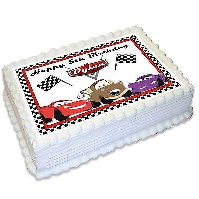 Cars Lightning McQueen Mater Personalised A4 Edible Icing Cake Topper • 8.32£