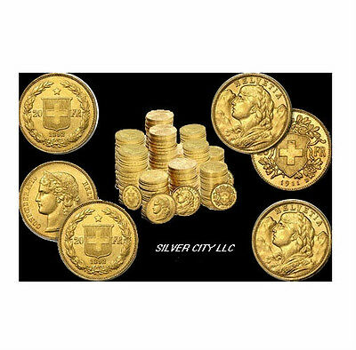 $1949.95 • Buy (5) Gold Swiss 20 Franc Agw .1867 Oz. Gold Coin Random Year & Au Condition