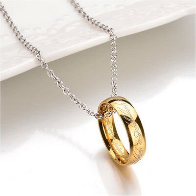 $7.95 • Buy Gold Plated Lord Of The Rings Necklace The One Ring LOTR Pendant Stainless Steel