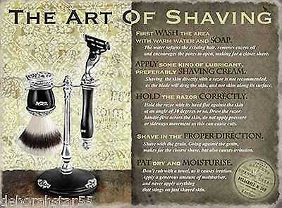 THE ART OF SHAVING Vintage Style Retro  Shabby Chic Sign Large Metal Wall Sign  • 12.99£