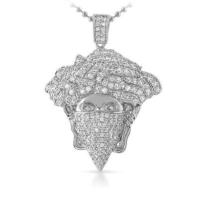 £21.59 • Buy Silver Iced Out Medusa Masked Pendant Chain Set