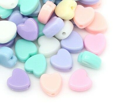£2.69 • Buy 100 Pastel Heart Beads Acrylic 8mm Mixed Colours  Childrens Beads J28568V