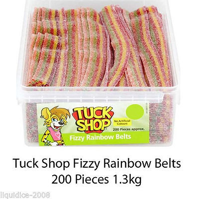 TUCK SHOP FIZZY RAINBOW BELTS 1.3kg TUB SWEETS BOX PARTY WEDDING FAVOURS TREAT • 2.18£