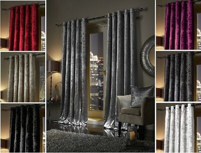 Extra Heavy Crushed Faux Velvet Soft Touch Pair EYELET RING TOP Lined Curtains • 34.95£