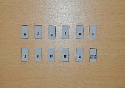 £3 • Buy 100 Clothing Garment Sizes Woven Labels -  Sizes 0 - 20 & One Size Fits All