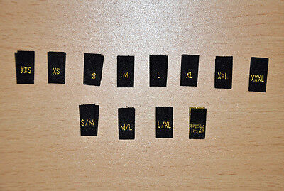 100 GOLD Clothing Garment Sizes Woven Labels - S, M, L, S/M, OSFA E.t.c • 2.10£