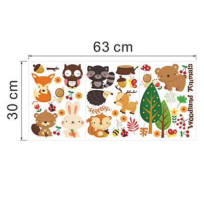 Children Wall Sticker Bedroom Kids Baby Room Forest Animal Bear Owl Bee Fox UK • 5.99£