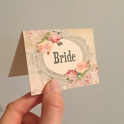 £3.50 • Buy Wedding Table Guest Place Name Cards - Shabby Rose Vintage Style - Set Of 10