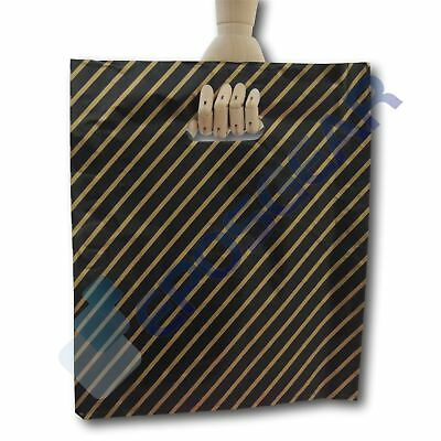 100 Large Black And Gold Striped Gift Shop Boutique Market Plastic Carrier Bags • 5.70£