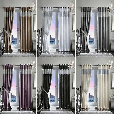 Pair Luxury Heavy Velvet Style Diamante Diamond Blackout Thermal Eyelet Curtains • 54.95£