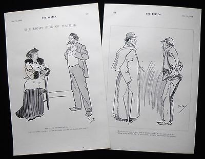PHIL MAY CARICATURES CARTOONS 2 X VICTORIAN PRINTS 1894 • 9£