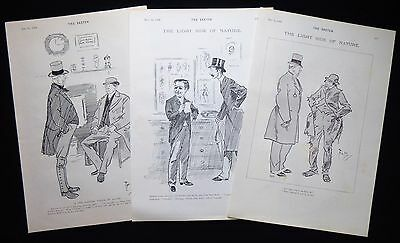 PHIL MAY CARICATURES CARTOONS 3 X VICTORIAN PRINTS 1894 • 12£