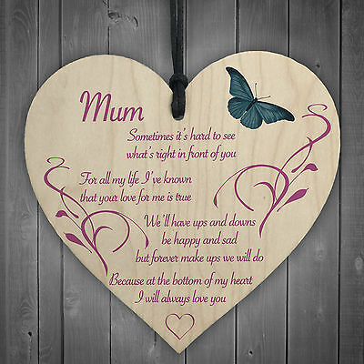 Mum I Will Always Love You Wooden Hanging Heart Mothers Day Present Plaque Gift • 3.99£