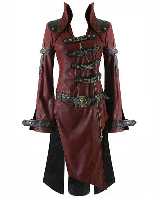 Punk Rave Shadow Jacket Mens Red Black Goth Steampunk Faux Leather Coat • 89.99£