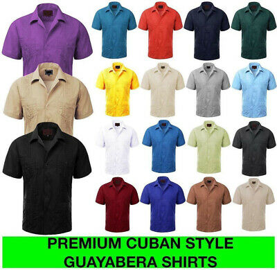 e2897220 Guayabera Men's Cuban Beach Wedding Short Sleeve Button-Up Casual Dress  Shirt • 21.99$