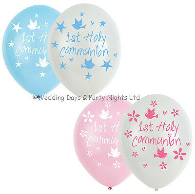 6 First 1st Holy Communion Helium/Air Latex Balloons Party Decorations Boy Girl • 2.95£