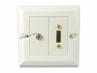 £11.95 • Buy 3.5mm Jack And HDMI Wall Plate - Faceplate No Soldering Audio Video