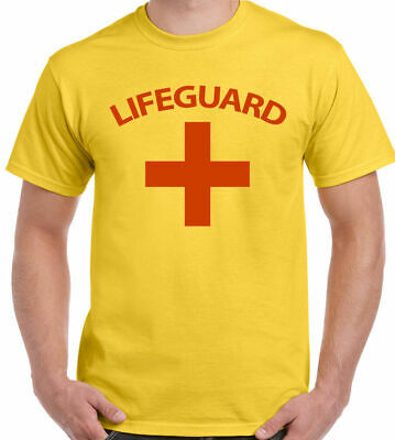 £6.95 • Buy Lifeguard T-Shirt Mens Fancy Dress Costume Outfit Lifesaver Baywatch Surfing