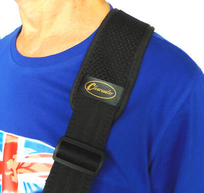 $ CDN20.50 • Buy GUITAR Or BASS STRAP WITH 3  WIDE SOFT SHOULDER PAD IN BLACK By CLEARWATER