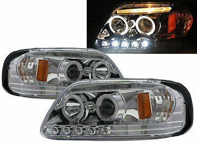 AU495.99 • Buy F250 LightDuty Pickup1998-1999 Angel-Eye Projector Headlight Chrome For FORD RHD