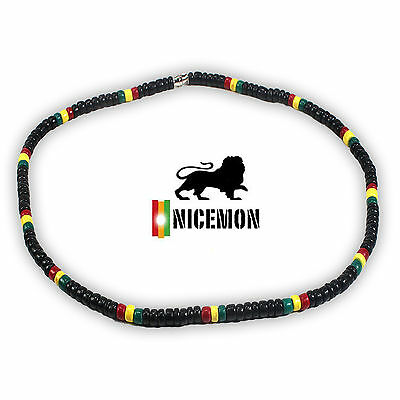 $9.89 • Buy Rasta Coconut Beads Necklace Choker Coco Beads Marley Reggae 18  Or 46 Cm 3-4ml