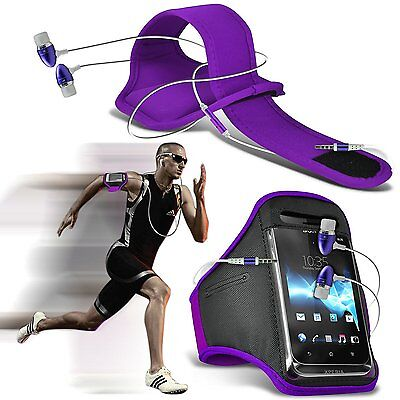 Quality Sports Armband Gym Running Phone Case Cover+In Ear Headphones✔PURPLE • 6.95£