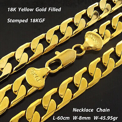 AU18.95 • Buy Mens Gold Necklace Chain Real 18k Yellow GF Solid Heavy Bling Curb Link 20  50cm