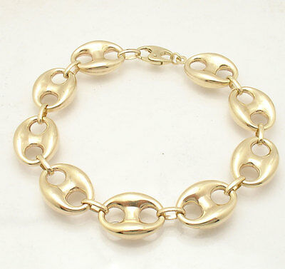 179a3002486ce 16mm Mens Puffed Mariner Gucci Link Chain Bracelet Real 10K Yellow Gold  19.9gr • 663.60