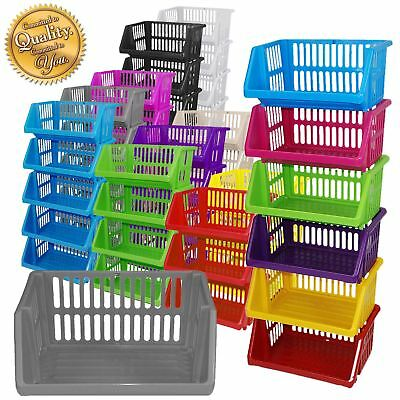 Multi Purpose Large Plastic Colour Storage Rack Stand Stacking Stackable Baskets • 7.99£