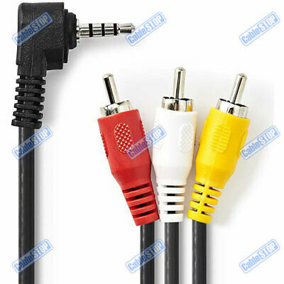 £2.85 • Buy 2m 4 Pole 3.5mm Jack To 3 RCA Triple Phono Composite AV Camcorder Camera Cable