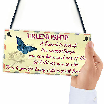 £3.99 • Buy Friendship Sign Best Friend Plaque Gift Shabby Chic Thank You - READ ME VINTAGE