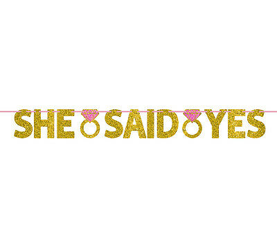 12ft She Said Yes Gold Letter + Ring Banner Wedding Engagement Party Decorations • 4.49£