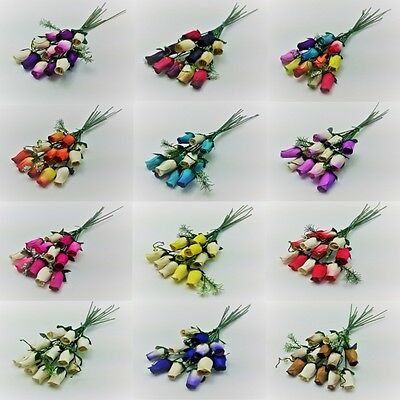 12 Wooden Rose Bouquet - Choose Colour Required - Birthdays - Weddings - Gifts • 6.99£