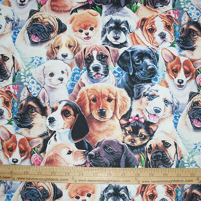 Cotton Fabric DIGITAL Print  A Bunch Of Puppy Dogs Floral Flowers Puppies  BTY • 9.75$