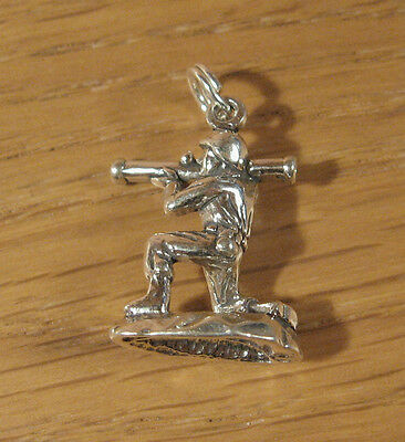 Army Soldier Charm Pendant .925 Sterling Silver Military Battle USA Made  • 14.54£