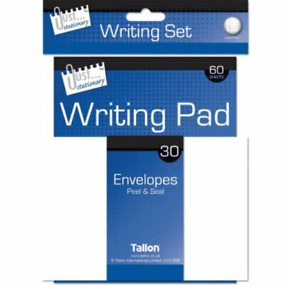 £2.88 • Buy Just Stationery Writing Set Includes 60 Sheet Lined Paper 30 Envelope And Pen