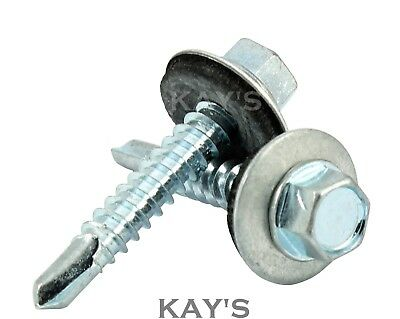 £7.42 • Buy Self Drilling Roofing Tek Screws With Sealing Washers Zinc Plated Fix To Metal