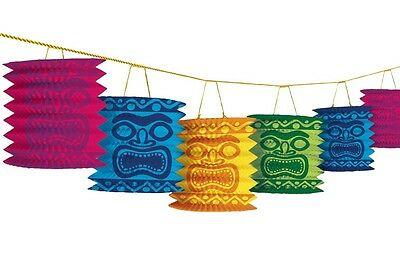 12ft Tiki Paper Lanterns Garland Hawaiian Tropical Luau Beach Party Decorations • 4.19£