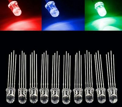 £2.29 • Buy 10 X 5mm RGB Common Cathode 4 Pin Water Clear LED Rainbow
